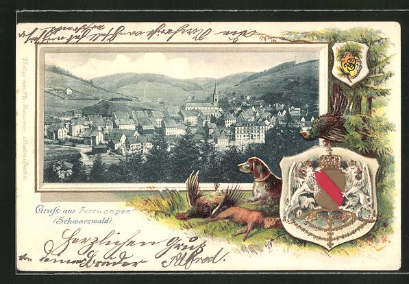 Präge-Passepartout-Lithographie Furtwangen i. Schwarzw., Blick auf die Stadt mit Wappen und toten Tieren am Wald