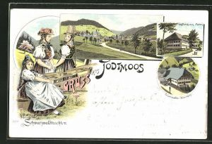 Lithographie Todtmoos, Gasthaus zum Maien, Schwarzwaldtrachten, Schwarzwälder Bauernhaus, Ortsansicht