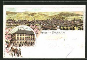 Lithographie Lörrach, Gasthaus zum Hirschen, Panoramablick auf die Stadt