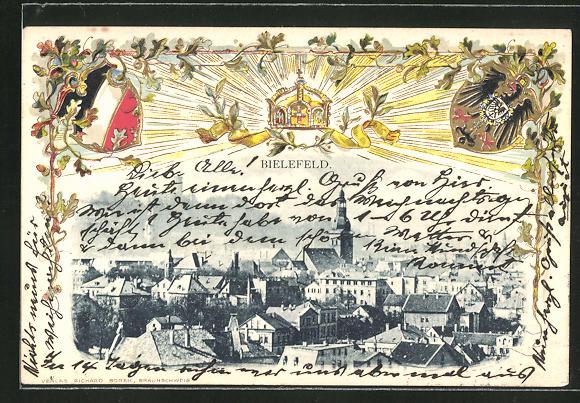 Künstler-Passepartout-Lithographie Bielefeld, Ortsansicht aus der Vogelschau mit Wappen