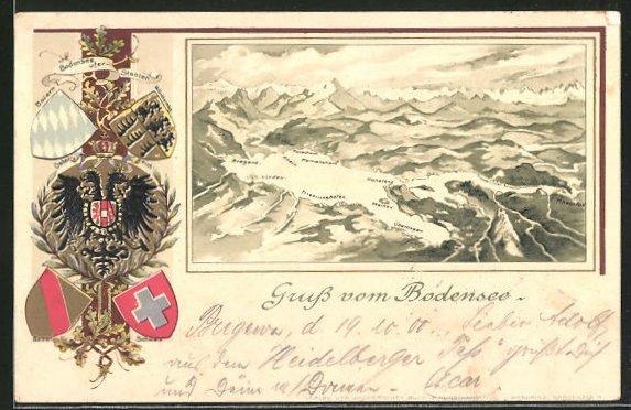 Präge-Passepartout-Lithographie Konstanz, Gesamtansicht vom Bodensee mit Gebirge und Wappen