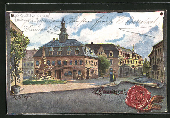 Künstler-AK Carl Biese: Emmendingen, Ortsansicht mit Strassenpartie