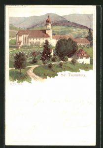 Künstler-AK Karl Mutter: St. Trudpert, Kirche im Ortsbild