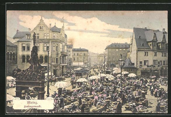 AK Mainz, Buntes Treiben auf dem Freitagsmarkt