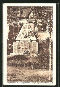 AK Langensalza i. Th., Kriegerdenkmal de Jäger-Regiments zu Pferde Nr. 2