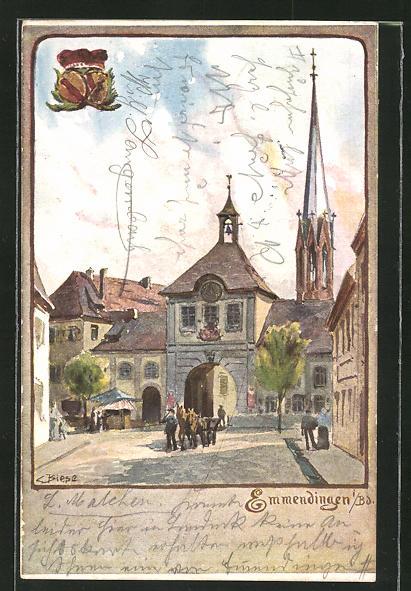 Künstler-AK Carl Biese: Emmendingen i. B., Strassenpartie am Stadttor