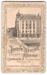 Fotografie Joseph Werner, München, rückseitige Ansicht München, Atelier Isarthorplatz 2, vorderseitig Portrait