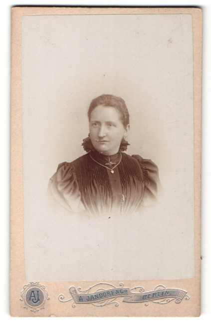 Fotografie A. Jandorf & Co., Berlin, Portrait Frau mit zusammengebundenem Haar