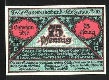 Notgeld Stolzenau 1921, 75 Pfennig, Tischler bei der Arbeit, Zunftwappen