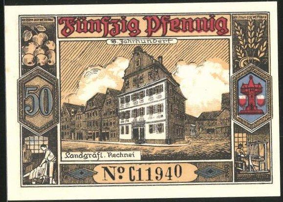 Notgeld Butzbach 1921, 50 Pfennig, Portrait Landgraf Phillipp von Butzbach, Dokument m. Siegel, Landgräfl. Rechnei