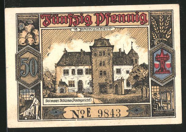 Notgeld Butzbach 1921, 50 Pfennig, Portrait Landgraf Phillipp von Butzbach, Dokument m. Siegel, Solmser Schloss