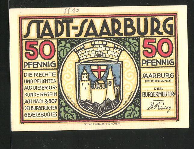 Notgeld Saarburg (Rheinland), 50 Pfennig, Stadtwappen, Zentaurenkinder mit Weingläsern