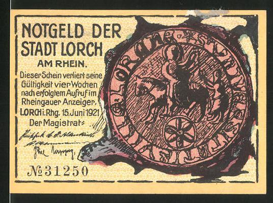 Notgeld Lorch 1921, 25 Pfennig, Mann am Ortsrand, Siegel