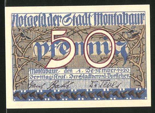 Notgeld Montabaur 1920, 50 Pfennig, Ortswappen, Burg