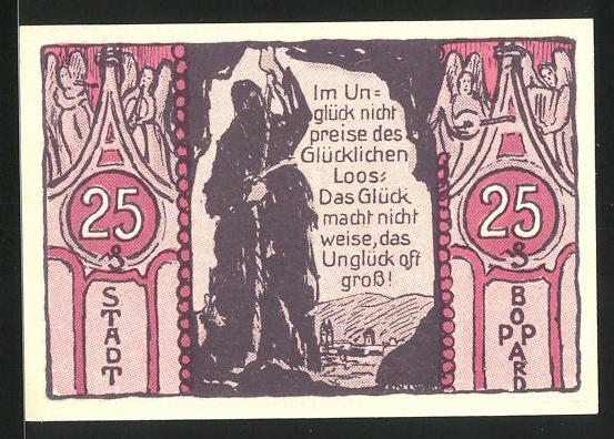 Notgeld Boppard 1921, 25 Pfennig, Bruder Michel mit Gebetskette, Henker mit Strick am Ortsrand