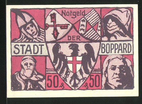 Notgeld Boppard 1921, 50 Pfennig, Kirche, Stadtwappen