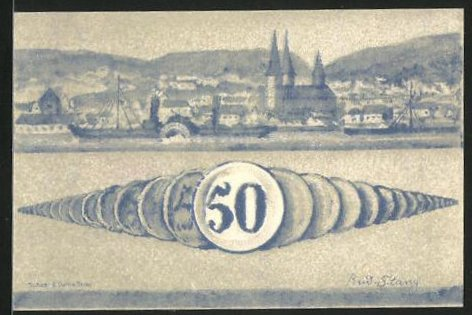 Notgeld Boppard 1921, 50 Pfennig, Stadtwappen, Ortsansicht