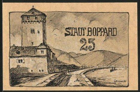 Notgeld Boppard 1920, 25 Pfennig, Partie am Stadtrand, Wehrturm & Stadtmauer