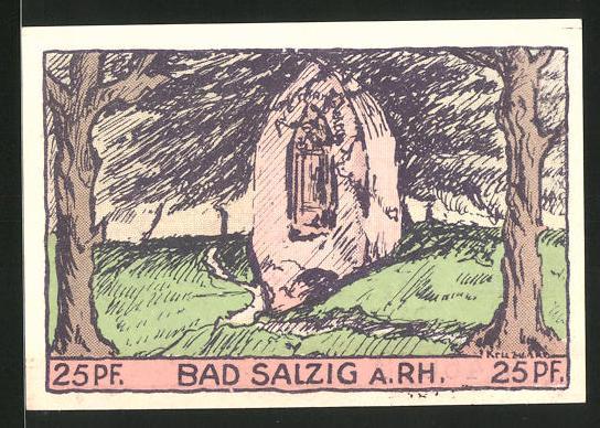 Notgeld Bad Salzig 1921, 25 Pfennig, Frau & sprudelnde Quelle, Marienbildnis