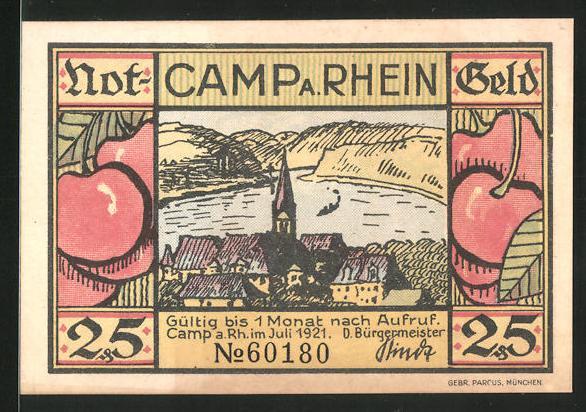 Notgeld Camp am Rhein 1921, 25 Pfennig, Rheinmotiv, Ortsansicht