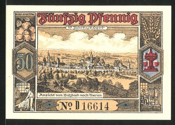 Notgeld Butzbach 1921, 50 Pfennig, Portrait Landgraf Phillipp von Butzbach, Dokument m. Siegel, Ortsansicht