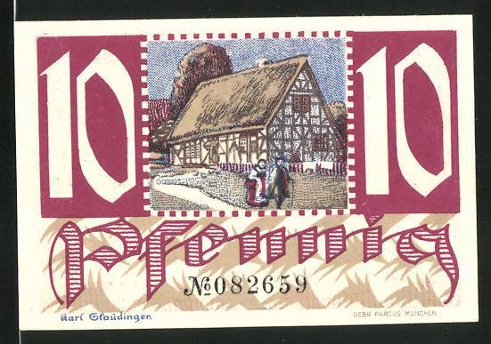 Notgeld Montabaur 1920, 10 Pfennig, Bauernhof, Engel mit Stadtwappen