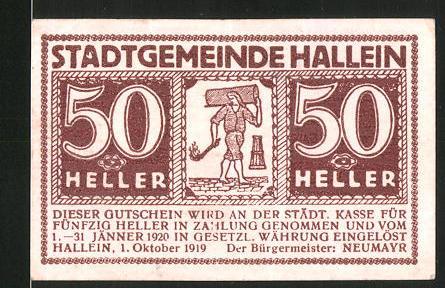 Notgeld Hallein 1920, 50 Heller, Mann mit Fackel