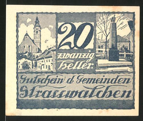 Notgeld Strasswalchen 1920, 20 Heller, Stadtwappen, Kriegerdenkmal und Kirche