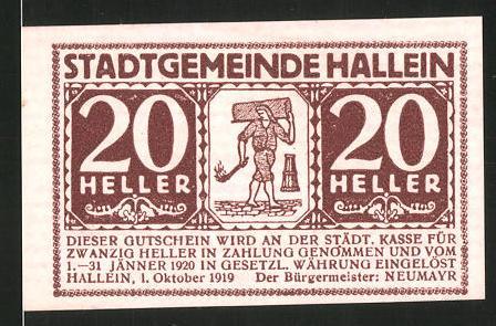 Notgeld Hallein 1919, 20 Heller, Stadtwappen, Mann mit Fackel