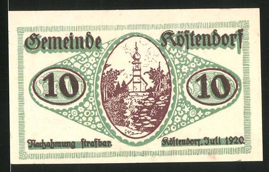 Notgeld Köstendorf 1920, 10 Heller, Kirche
