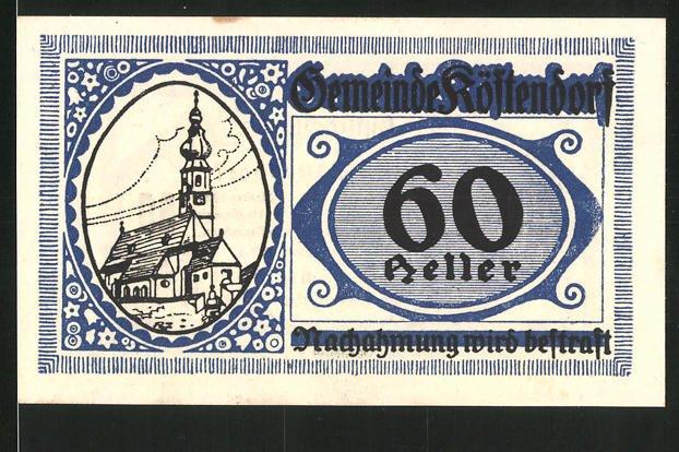 Notgeld Köstendorf 1920, 60 Heller, Kirche