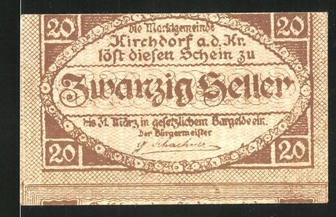 Notgeld Kirchdorf an der Krems 1921, 20 Heller, Stadtwappen
