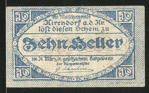 Notgeld Kirchdorf an der Krems 1921, 10 Heller, Stadtwappen