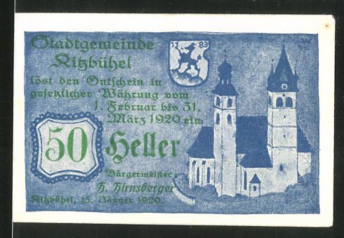 Notgeld Kitzbühel 1920, 10 Heller, Stadtwappen und Kirche, Gemeindestempel rückseitig
