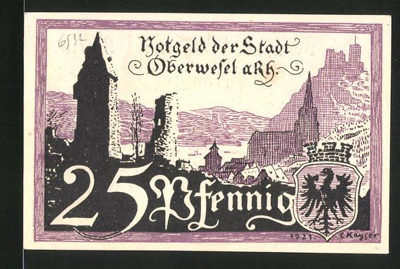 Notgeld Oberwesel am Rhein 1921, 25 Pfennig, Kapelle, Ortsansicht mit Stadtwappen