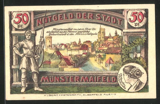 Notgeld Münstermaifeld 1921, 50 Pfennig, Stadtansicht und Stadtwappen