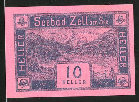 Notgeld Seebad Zell am See 1920, 10 Heller, Seemotiv, Wappen