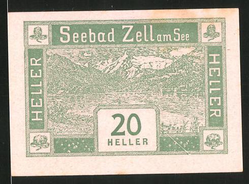 Notgeld Seebad Zell am See 1920, 20 Heller, Seemotiv, Wappen