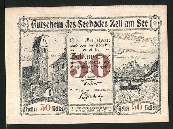 Notgeld Zell am See 1920, 50 Heller, Kirchturm und Seemotiv, Schloss Rosenberg