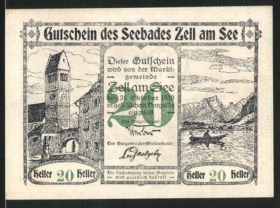 Notgeld Zell am See 1920, 20 Heller, Kirchturm und Seemotiv, Schloss Rosenberg