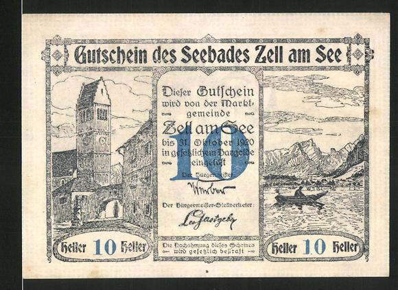 Notgeld Zell am See 1920, 10 Heller, Kirchturm und Seemotiv, Schloss Rosenberg