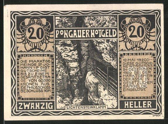 Notgeld St. Johann im Pongau 1920, 20 Heller, Lichtensteinklamm, Jägersmann in Tracht