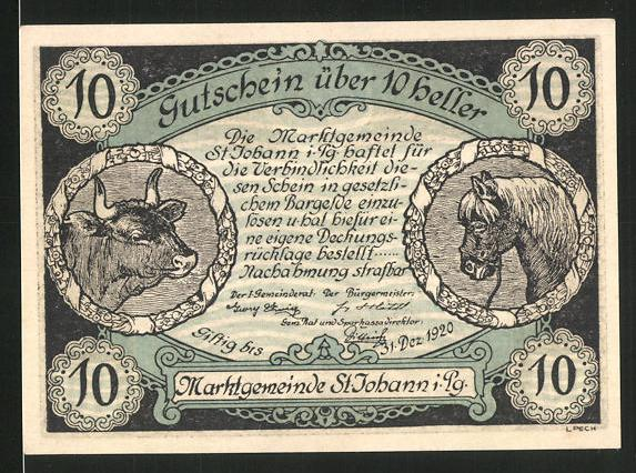 Notgeld St. Johann im Pongau 1920, 10 Heller, Stadtwappen und Ortsansicht, Rind und Pferd