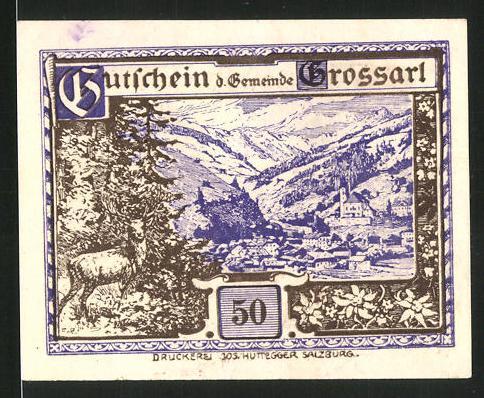 Notgeld Grossarl 1920, 50 Heller, Ortsansicht mit Hirsch, Kriegerdenkmal