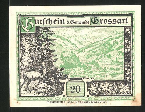 Notgeld Grossarl 1920, 20 Heller, Ortsansicht mit Hirsch, Kriegerdenkmal