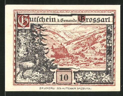 Notgeld Grossarl 1920, 10 Heller, Ortsansicht mit Hirsch, Kriegerdenkmal