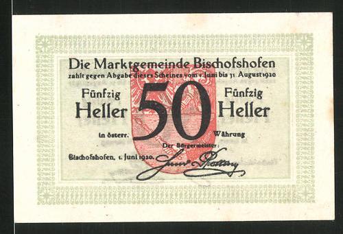 Notgeld Bischofshofen 1920, 50 Heller, Stadtwappen