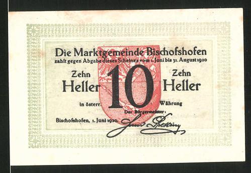 Notgeld Bischofshofen 1920, 10 Heller, Stadtwappen