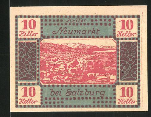 Notgeld Neumarkt am Wallersee 1920, 10 Heller, Ortsansicht