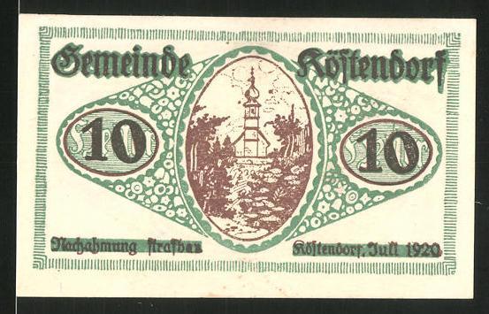 Notgeld Köstendorf 1920, 10 Heller, Kirchenmotiv